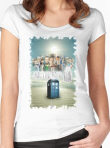Blue Box Cover Tardis T-Shirt ? Hoodie Women's Fitted Scoop T-Shirt