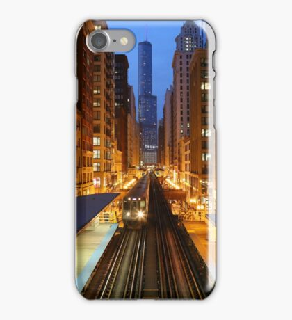 Chicago Elevated Train at dusk iPhone Case/Skin