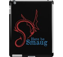 Here be Smaug - Red & Blue, for Black T-Shirt iPad Case/Skin