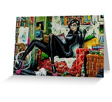 Jaded Girl With Kitty by John Howard Greeting Card
