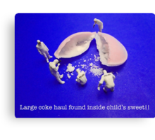 Large coke haul found inside child's sweet!! Canvas Print