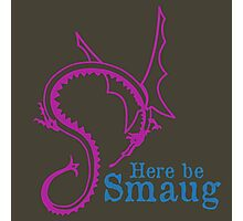 Here be Smaug - Pink & Blue, for Army T-Shirt Photographic Print