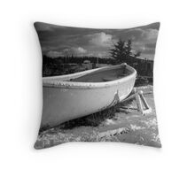 Lifeboat in Snow Throw Pillow