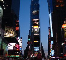 Times Sq into dusk by spunkylaydee