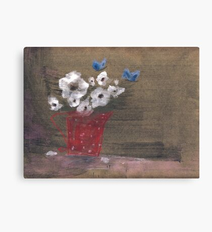 Snowflowers and butterflies Canvas Print