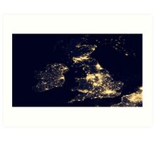 The UK At Night - United Kingdom At Night - As Seen From Space Art Print