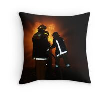 Fireman at Gasfire Throw Pillow