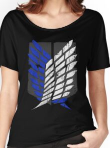 Attack On Titan - Survey Corps Logo (Blue Grunge v2) Women's Relaxed Fit T-Shirt