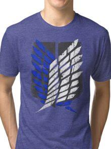 Attack On Titan - Survey Corps Logo (Blue Grunge v2) Tri-blend T-Shirt