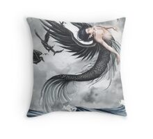 Raven Waves Throw Pillow