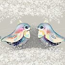 Exotic Silver Lovebirds by © Karin (Cassidy) Taylor