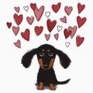 Cute Dachshund Puppy with Valentine Hearts by Jenn Inashvili