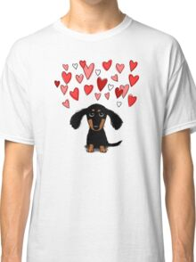 Cute Dachshund Puppy with Valentine Hearts Classic T-Shirt