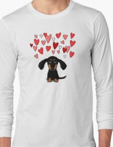 Cute Dachshund Puppy with Valentine Hearts Long Sleeve T-Shirt