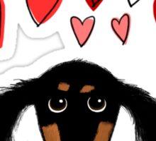 Cute Dachshund Puppy with Valentine Hearts Sticker