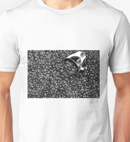 Coffee beans in black and white Unisex T-Shirt