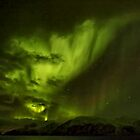 Northern Lights Aurora Borealis sailing down Grottsundet, Norway by David Alexander Elder