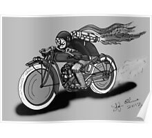 INDIAN MOTORCYCLE STEAMPUNK STYLE (Black and White) Poster