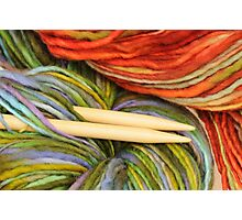 yarn and knitting needles Photographic Print