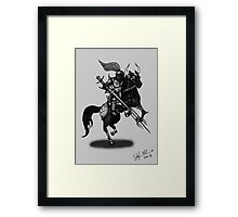 KNIGHT ON HORSE (BLACK AND WHITE) Framed Print