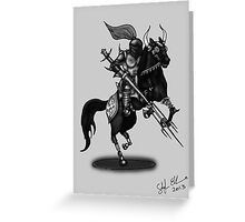 KNIGHT ON HORSE (BLACK AND WHITE) Greeting Card