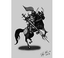 KNIGHT ON HORSE (BLACK AND WHITE) Photographic Print