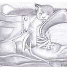 Cat in a boot by Tracey Pearce