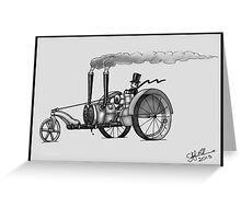 1916 HAPPY FARMER STEAMPUNK TRACTOR (Black and White) Greeting Card