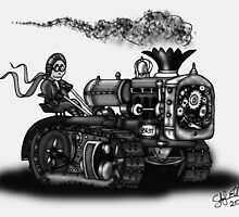 1923 BEST TRACTOR STEAMPUNK (BLACK AND WHITE) by squigglemonkey
