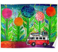 Recovery road - journey in a kombi van Poster