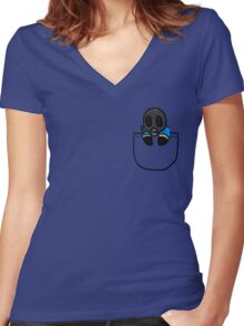 TeamFortress 2 Pocket Pyro (Blue) Women's Fitted V-Neck T-Shirt