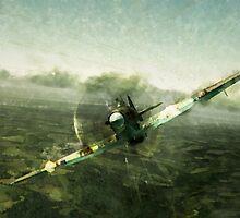 Fantastic World War 2 Hurricane Print / Hurricane in Battle WW2 , Spitfire Battle of Britain by verypeculiar