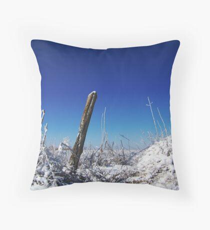 Snowy Fenceposts Throw Pillow