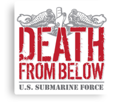 Awesome 'Death from Below' U.S. Submarine Force Red and Gray T-Shirt Canvas Print