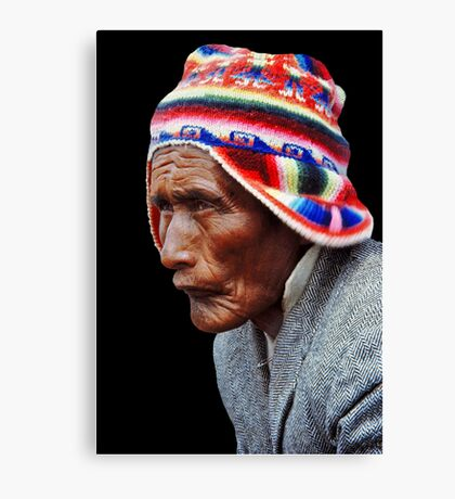 Aymara Man. Taquile Island. Titikaka Lake, Bolivia Canvas Print