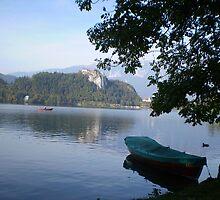 Boat moored at Lake Bled, Slovenia by SammyH