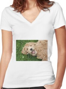 Happy Pup Women's Fitted V-Neck T-Shirt
