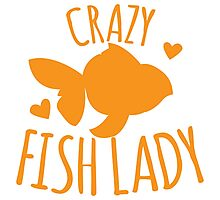 Crazy Fish lady with cute little goldfish Photographic Print