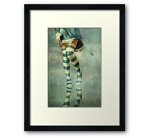 Lovely Girl with Striped Socks Framed Print