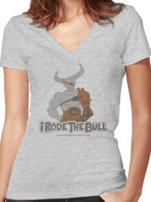Riding the Bull Women's Fitted V-Neck T-Shirt