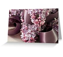 Lilac And Ribbon Curls Greeting Card