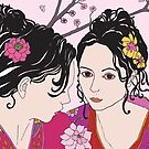 kimono girls with rose by genevievem