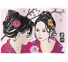 kimono girls with rose Poster