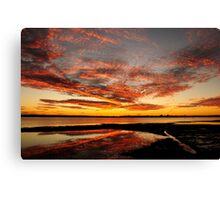 Fire in the Sky - Pumicestone Passage Canvas Print