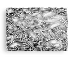Unique Abstract Flowing Gray Black & White Drawing Metal Print