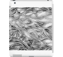 Unique Abstract Flowing Gray Black & White Drawing iPad Case/Skin