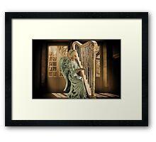 Ƹ̴Ӂ̴Ʒ WINGS OF AN ANGEL PLAYING HARP MUSIC- VARIOUS APPAREL-- PICTURE,PILLOW, AND OR TOTE BAG Ƹ̴Ӂ̴Ʒ Framed Print