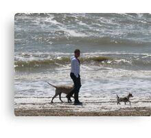 MAN WALKING HIS DOGS Canvas Print