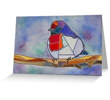 Patchwork Red-capped Robin Watercolour Greeting Card