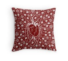 Rose vine and human heart Throw Pillow